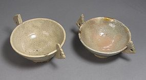 A Very Rare Pair of  White Glazed Two Ear Wine Cups