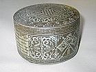 A Fine and Large Silver Inlaid Iron Box and Cover