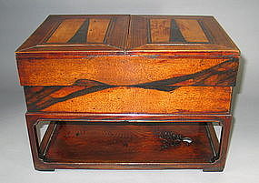A Rare and Well Crafted Wood Ink Stone Box and Cover