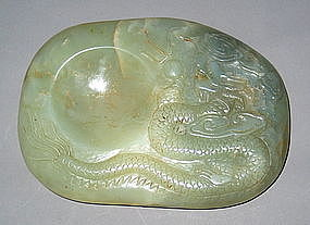 A Fine Pale Celadon jade Ink-Stone/ Brush washer