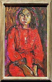 A Young Lady in Red Oil Painting by Kim Heung Sou
