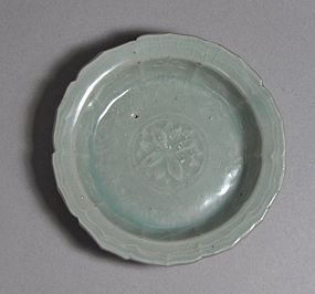 A Very Fine Sea-Green Celadon Molded Shallow Dish