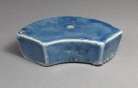 A Rare/Fine Fan-Shape Blue Porcelain Water Dropper