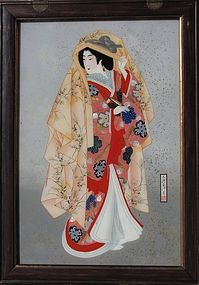 Extremely Rare Reverse Glass  Ukiyo-e Beauty Painting