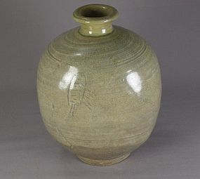 Very Rare Punchong Jar with Incised Fish Deco. 15th C.