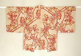 Japanese Vintage Textile Meisen Haori Beige & Red