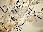 Japanese Vintage Textile Obi Sash With Freshwater Crabs