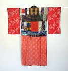 Japanese Antique Textile Girl's Yose-gire Juban Red