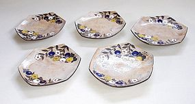 Japanese Vintage Ceramic Kenzan Style Plates