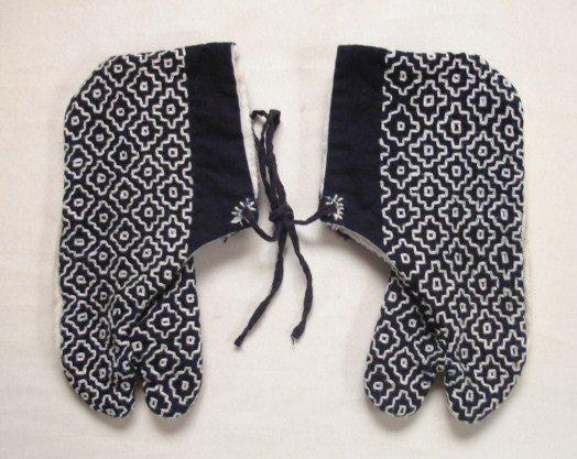Japanese Vintage Textile Tabi With Sashiko