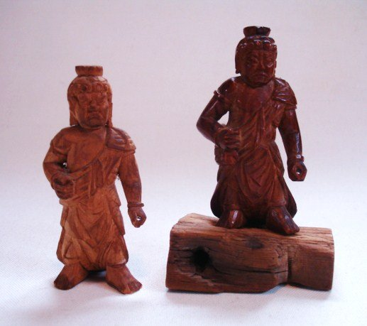 Japanese Antique Miniature Wood Buddhas Fudo