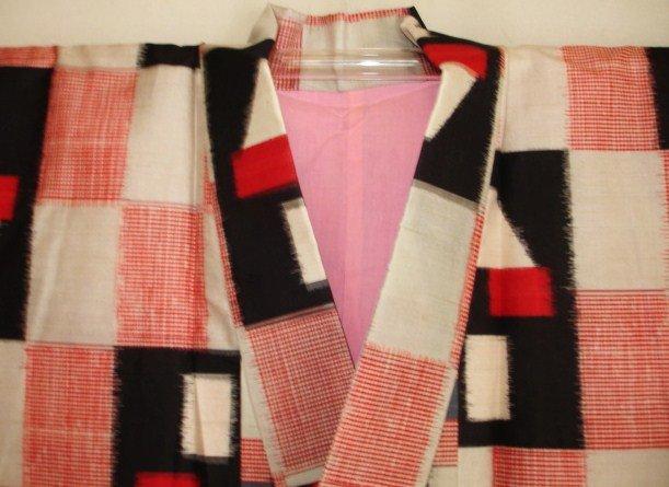 Japanese Vintage Meisen Kimono White, Red, Black