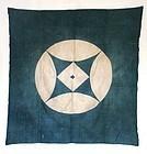 Japanese Antique Textile Furoshiki With Crest-1