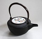 Japanese Vintage Iron Kettle With Ceramic Lid