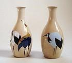 Japanese Vintage Ceramic Pair Of Tokkuri For Sake