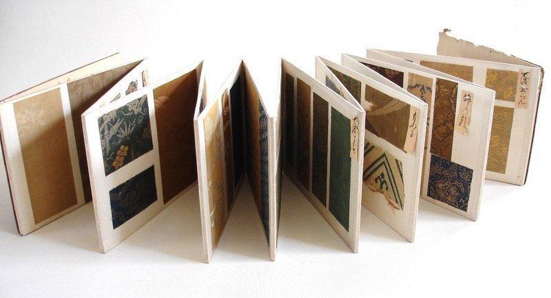 Japanese Antique Sample Book Of Edo Brocades