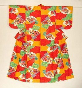 Japanese Vintage Meisen Kimono Red & Orange
