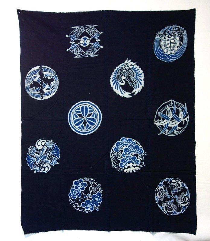 Japanese Antique Textile Tsutsugaki Maru-mon Futonji