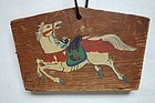 Japanese Vintage Ema Wooden Plaque With Horse