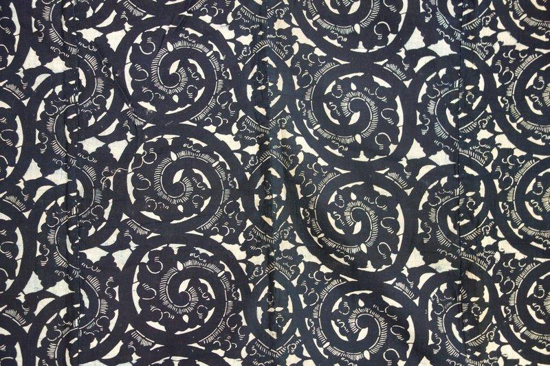 Japanese Antique Textile Katazome Futonji Karakusa