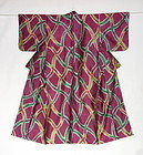 Japanese Vintage Textile Meisen Kimono Geometric