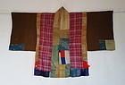 Japanese Antique Textile Silk Crepe Yose-gire Han-juban
