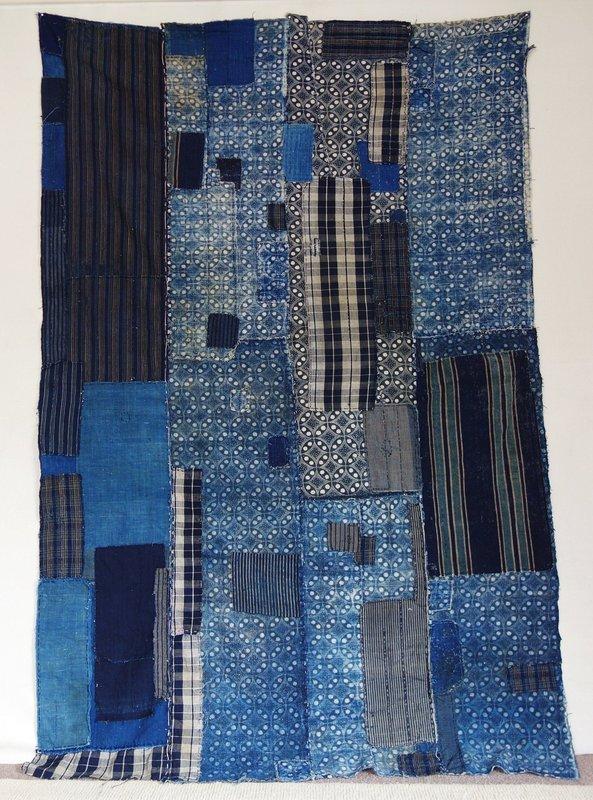 Japanese Vintage Textile Cotton Boro Futonji Indigo
