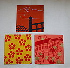 Japanese Vintage Textiles Cotton Velvet with Kyoto Motifs-2