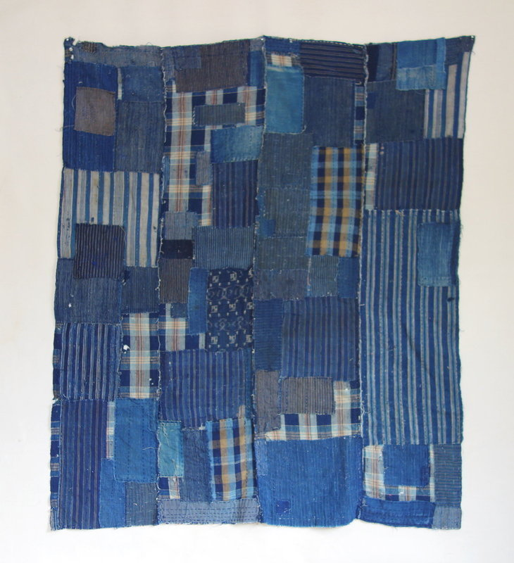 Japanese Vintage Textile Boro Futonji with Indigo Many Patches