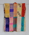 Japanese Vintage Textile Han-juban Made of Silk with Shibori