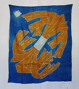 Japanese Antique Textile Asa Furoshiki with Noshi Design