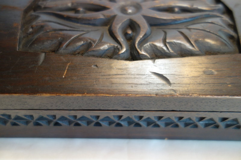 Japanese Vintage Mingei Wooden Box with Carving