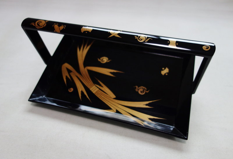 Japanese Vintage Lacquar Small Tray with Gold Makie