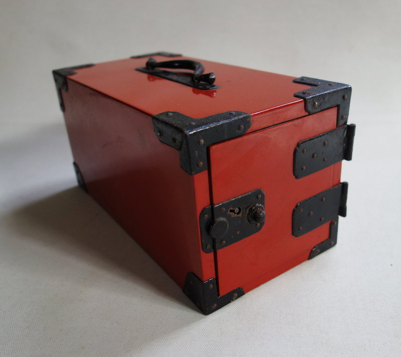 Japanese Antique Wooden Small Box with Drawers Red Urushi
