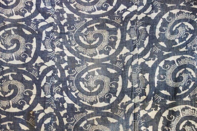 Japanese Antique Textile Boro Indigo Katazome Karakusa Futonji