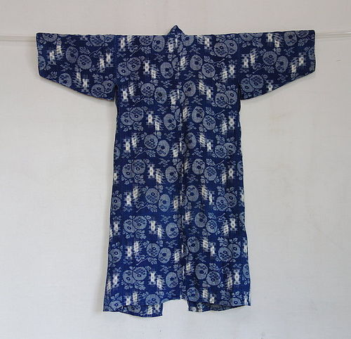 Japanese Antique Textile Asa Hemp Omi kasuri Child's Kimono