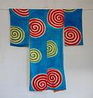 Japanese Vintage Textile Silk Juban Under Kimono with Shibori