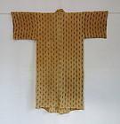 Japanese Vintage Textile Bashofu Kimono with Kasuri from Okinawa