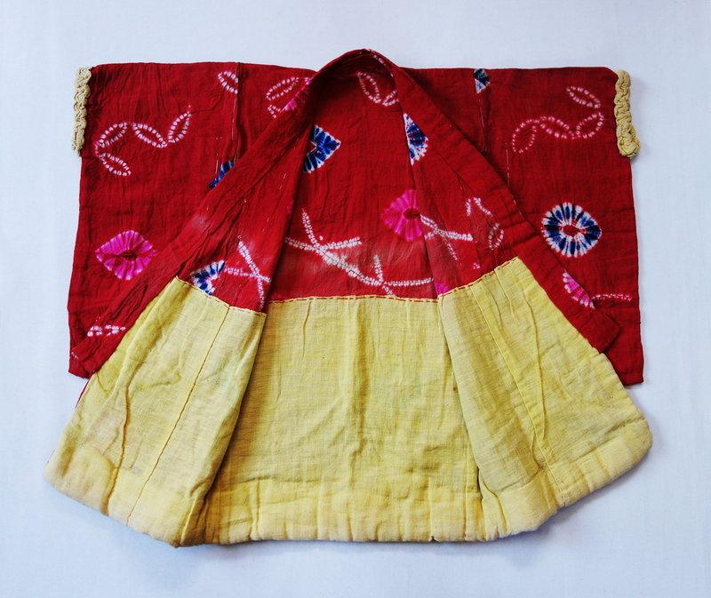 Japanese Vintage Textile Baby's Kimono Made of Cotton with Shibori