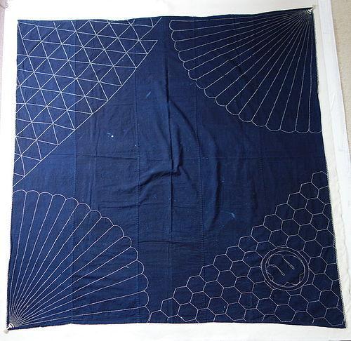 Japanese Vintage Textile Cotton Large Furoshiki with Sashiko