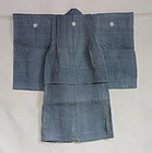 Japanese Antique Textile Asa Child's Ceremonial Kimono