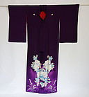 Japanese Vintage Textile Woman's Silk Crepe Formal Kimono