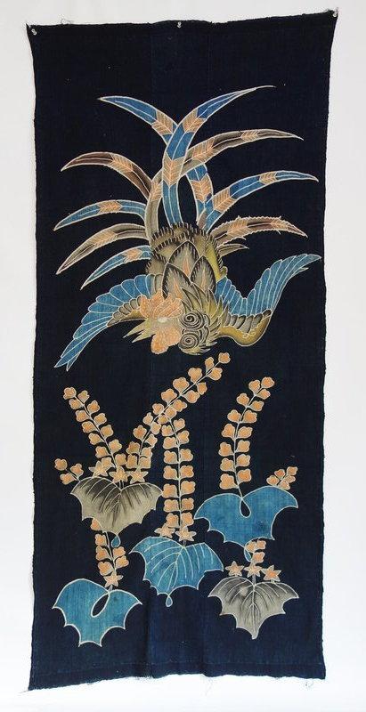 Japanese Antique Textile Yogi Cloth with Tsutsugaki Phoenix
