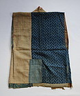 Japanese Antique Textile Sodenashi Han-juban Cotton and Silk Crepe