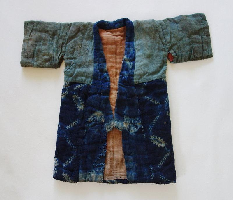 Japanese Vintage Textile Boro Baby's Kimono with Shibori