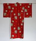 Jaoanese Vintage Textile Meisen Kimono with Geometric Pattern