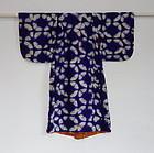 Japanese Antique Textile Girl's Slk Kimono with Itajime Shibori