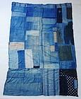Japanese Vintage Textile Boro Futonji Many Indigo Colors