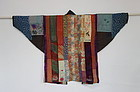 Japanese Antique Textile Yose-gire Han-juban Made of Fragments