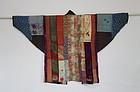 Japanese Antique Textile Yose-gire Han-juban Made of Fragments